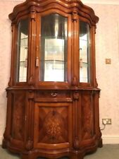 Italian 3 Door Glass Display Wall Cabinet Unit Gloss Glass shelves mirror back