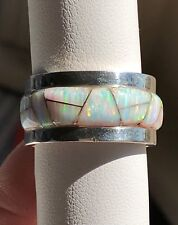 RARE SZ 10 HEAVY SOLID Men's Opal Ring White SUNSET GLOW WIDE BAND Pipe Cut