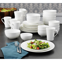 40 Piece Bone China Dinnerware Set Dishwasher & Microwave Safe Service 8 White