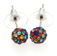 Wholesale 8MM Rhinestone Bead Bubble CZ Earrings Crystal Disco Ball Stud Earring