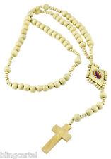 Rosary Cream Wood Prayer Beads Virgin Mary Cross Virgen Crucifix Jesus Necklace