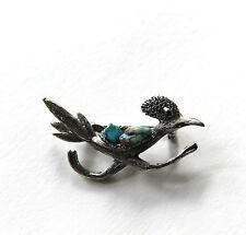 Vintage Figural Roadrunner Bird Pewter & Turquoise Stone Pin Brooch