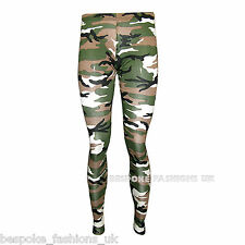 Womens Camouflage Army Print Ladies Full Length Long Leggings Plus Size 8-18