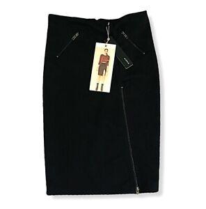Staple The Label Size 10 / US 6  Pencil Skirt Black Ponte Rib Zipped Split NWT