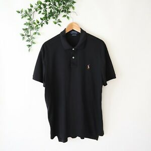 Polo Ralph Lauren Men's Pima Soft Touch Short Sleeve Polo Shirt L Large Black