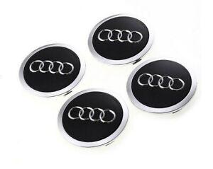 4x Audi Nabendeckel schwarz Felgendeckel Nabenkappen Emblem Durchmesser=69mm NEU