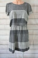 Madewell Dress Shift Peplum Smock Size 4 8 10 12 Black Grey White Silk