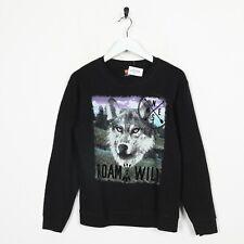 Vintage Kid's Novelty Graphic Big Wolf Logo Sweatshirt Jumper Black | XL