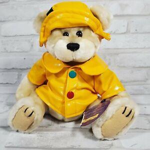 "Harper Brass Button Bears Pickford Collection 12"" Brown Teddy Bear Raincoat"