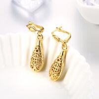 Bohemian Gold Finished Hammered Oval Teardrop Shape Drop Dangle Hook Earrings