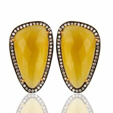 Yellow Moonstone CZ 18K Gold Plated 925 Sterling Silver Stud Earrings Jewelry