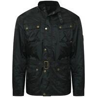 Men's Belted Fashion Jacket Biker Jacket Black Quilted Coat Made in UK Ken