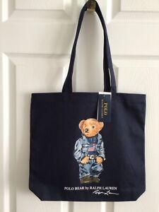 "NWT- POLO RALPH LAUREN Navy Denim Flag ""POLO BEAR"" Cotton Canvas Tote Bag"