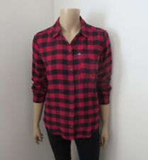 NWT Abercrombie Womens Plaid Flannel Shirt Size XS Red & Navy