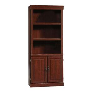 71 in Book Shelves Wood Heritage Hill Library with Doors Hidden Storage Cherry