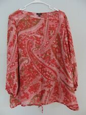Talbots Women's Size 12 Paisley Print 100% silk Blouse Pullover Sheer L/S top