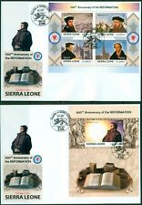 Reformation 500 Martin Luther Protestantism Sierra Leone imperforated FDC set