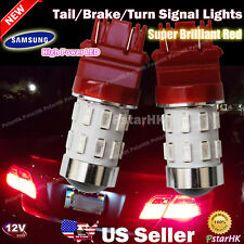 2 pcs 3157 3156 Samsung LED Light Bulb Tail Brake Turn Signal Projector Lens Red