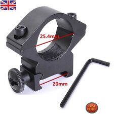 25.4mm Low Profile Flashlight Torch Scope Ring Hole Mount fit 20mm Weaver Rails