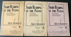 ALEC ROWLEY SIGHT READING AT THE PIANO STAGES 1-3 3X MUSIC BOOKS (1936) ENGLAND