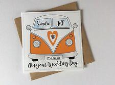 Personalised Handmade VW Camper Van Wedding Day Congratulations Card