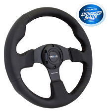 NRG Race Style Steering Wheel Black Leather with Black Stitch 320mm RST012R