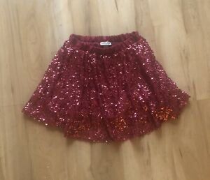 CHEROKEE Girls Sz 7/8 Red Sequin Lined Skirt With Elastic Waist Christmas