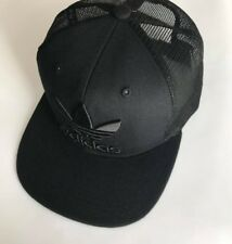 Black Adidas Originals Trucker Snapback Cap Trefoil Logo Clearance Sale b4741fb71