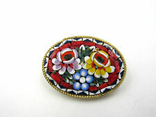 Magnificent Italian Micro Mosaic Brass floral Brooch Pin Vintage