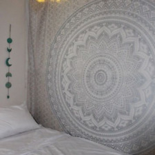 Indian Traditional Mandala Hippie Wall Hanging, Cotton Gray/Silver Tapestry Ombr