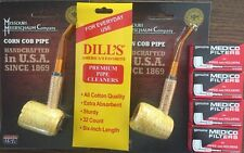 2 BENT Missouri Meerschaum Corn Cob Pipe & 1 Dills Cleaners & 4 Medico Filters