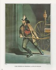 """1972 Vintage Currier & Ives """"THE AMERICAN FIREMAN ALWAYS READY"""" Color Lithograph"""