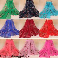 Chiffon Scarf Women Long Soft Wrap Shawls Beach Boho Embroidery Scarves Bandana
