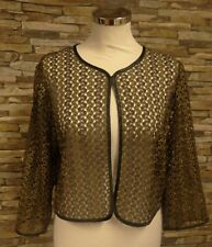 Brandtex Ladies Gold and Black Lacy Bolero Jacket 3/4 Sleeves Size Large New