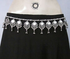 Tribal Belly Dance Mirror Belt Costume Skirt Waist Hip Jewelry Boho Hippy Gypsy