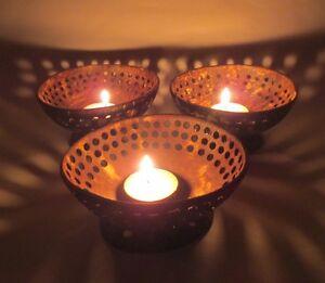 Coconut Tea Light Candle Holder Handicraft Thailand 2pcs