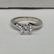 G/VS Engagement Ring 1 CT Round Cut 14k White Gold Bridal Enhanced Diamond