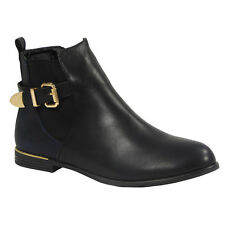 Womens Ladies Buckle Strap Low Cuban Heel Ankle Casual Chelsea BOOTS Shoes Size UK 6 / EU 39 / US 8 Navy