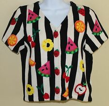VTG Original Michael Simon Funky Art-to-Wear Fun Fruit Cardigan Sweater Sz S