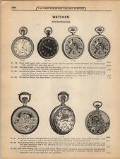 1908 PAPER AD 4 PG Knickerbocker Pocket Watch Energie Alarm Bassine Ingersoll
