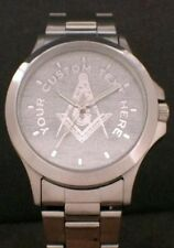 PERSONALIZED MASONIC DIAL STAINLESS DRESS WATCH - NEW