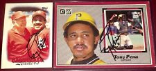 Tony Pena fmr Red Sox & MLB catcher & Manager auto autograph 2 baseball card LOT