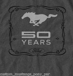 Ford Mustang T Shirt Tee Grey Mens 50 Years 1965 1966 1967 1969 1971 2015 GT 289