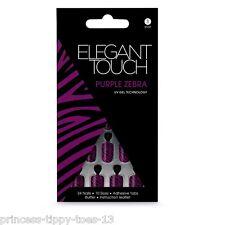 ELEGANT Touch 24 Lunghezza Corta Unghie Finte in Viola Zebra