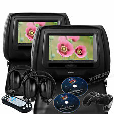 "Black 2X 7"" Headrest Car CD DVD Player Auto Active Monitor Game Player +Headsets"