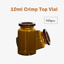 100pcs 10ml Amber vial, 20mm Crimp top,Bevelled,Flat bottom Lab Glass Bottle