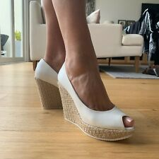WHITE SUMMER HEEL WEDGE - EXCELLENT CONDITION - MADE IN ITALY