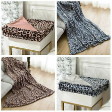 Leopard Printed Soft Mink Faux Fur Throw Blanket Bedroom Warmer Sofa SK
