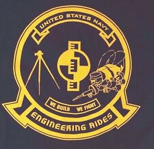 Soffe US Navy Engineering Rides We Build We Fight Men's Blue T-Shirt Size L NWT