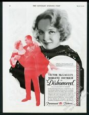 1931 Marlene Dietrich photo Dishonored movie release vintage print ad